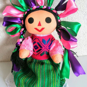 Mexican Rag Doll, Indigenous Folk doll, day of the dead doll, mexican doll, ethnic doll, doll embroidery design, Mexican Rebozo Aztec fabric