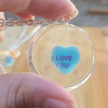 CREYUG7 Necklace Conversation Heart Pendant Casted Candy in Resin Valentine's Day I Love You S