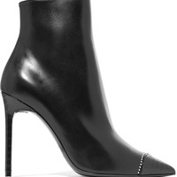 Saint Laurent - Anja embellished smooth and croc-effect leather ankle boots