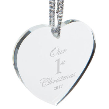 Our First 1st Christmas 2017 Etched Heart Crystal Ornament