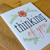 Thinking of You Greeting Card - hand-drawn, paper goods, stationary, greeting card, thinking of you, just because