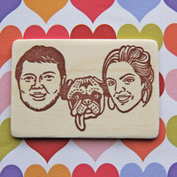 Hand Carved Custom Family Portrait Stamp -DIY Wedding Stationery, Save the Date, Engagement, Invitations, Thank You Cards-