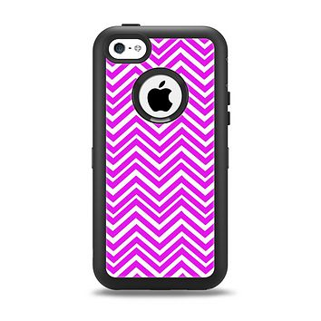 The Hot Pink Thin Sharp Chevron Apple iPhone 5c Otterbox Defender Case Skin Set
