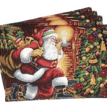 Tache Festive Down the Chimney Woven Tapestry Placemat