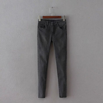 Summer Stretch Slim High Rise Jeans Cropped Pants [4920274500]