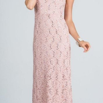 Taupe Long Formal Dress Lace with Embellished Neckline