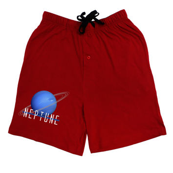 Planet Neptune Text Dark Adult Lounge Shorts