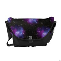 Black and Magenta Galaxy Print Messenger Bag