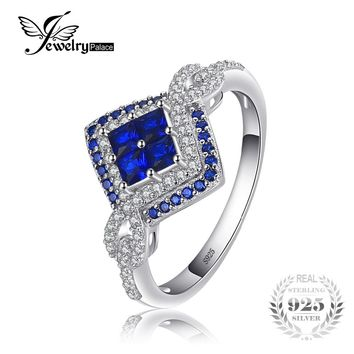 JewelryPalace Sparkling Square 0.62ct Created Blue Spinel Ring 925 Sterling Silver Fashion Women Engagement Rings Fine Jewelry