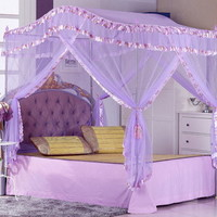 BED CANOPY MOSQUITO NET with STAINLESS STEEL POLEs PRINCESS SERIES PURPLE