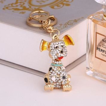 DCCKFV3 2017 New Charm Lovely Dog Key Chain Crystal Animal Key Pendant Couple Jewelry Bag Car Charm Keychains Wedding Accessories K129