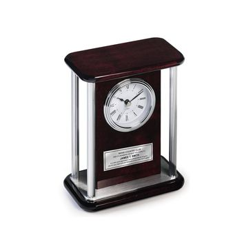 Personalized Table Desk Clock Four Silver Chrome Pillars Silver Engraved Retirement Anniversary Employee Recognition Birthday Wedding Gift