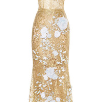 Strapless Metallic Lace Cocktail Dress by Marchesa - Moda Operandi
