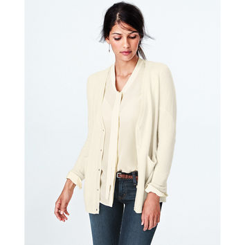 Cashmere Silk-Back Cardigan