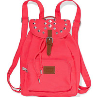 NWT Victoria's Secret PINK Neon Pink Studded Mini Backpack Tote Book Bag