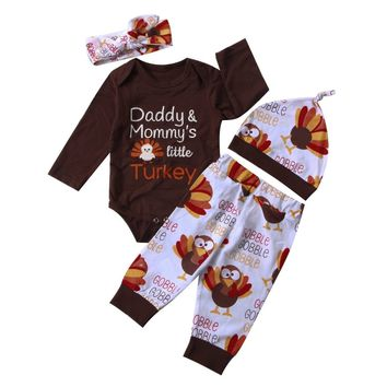 Thanksgiving baby boy girl clothes set Newborn Baby Boy Girl letter Romper turkey print Pants Hat Headband festival baby clothes