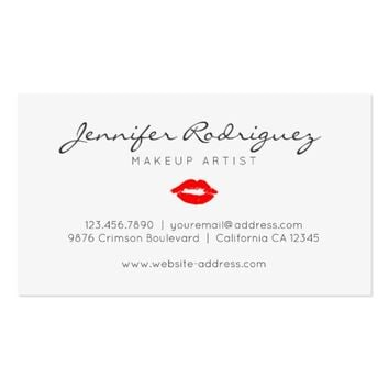 Red Lips Lipstick Makeup Artist Cosmetic Business Card