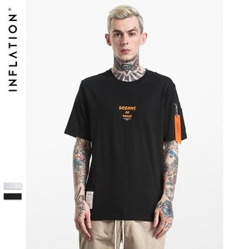 ca qiyif INFLATION Men MA1 Style Pilot Zipper Pocket T shirt