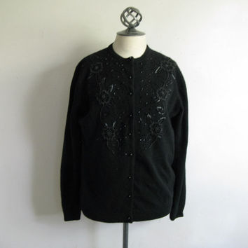 Vintage 80s Glass Bead Cardigan Rockabilly Black Wool Floral Beaded 1980s Knit Sweater 46