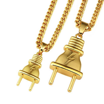 PLug Pendant plug 18K gold hip hop HIPHOP necklace pendant jewelry