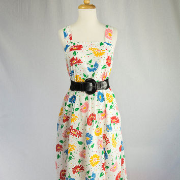 Vintage 70's Sun Dress Mod Rainbow Polka-dots and Flowers
