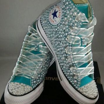 CREYUG7 Bridal Converse- Wedding Converse- Bling & Pearls Custom Converse Sneakers- Personaliz