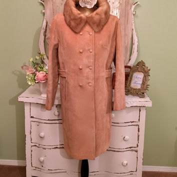 60s Midcentury Coat, 1960s Mod Trench, Jackie O Style Coat, Suede Retro Jacket, Handmade Coat, Leather & Mink Coat, Womens Outerwear, Large