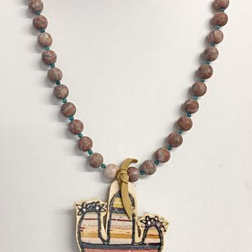 XOXO Art~ Serape Cactus and Jasper Bead Necklace