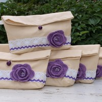 Set of 6 Linen and Crocheted Flower Pouches Bridesmaids clutches Bridesmaids Gifts