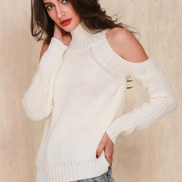 Winter Spring High Quality Off Shoulder Sweater Long Sleeve Pullover Coat for Womens Gift-93