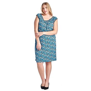 Women's Plus Size Printed Peasant Midi Dress