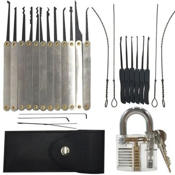 12pcs Lock Pick Set 10pcs Key Extractor Set 1pc Transparent Practice Padlock