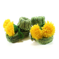 Knitted Baby Booties, Green and Yellow Dandelions, 0 - 3 months