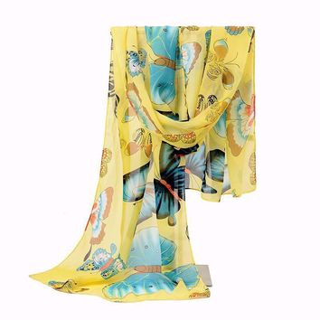2017 Chiffon Scarf Women's Silk Scarf Spring Autumn Silk Summer Emulation Butterfly Polyester Sunscreen Cape Shawl Shawl Wrap
