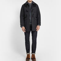 White Mountaineering - Houndstooth Wool and Cotton-Blend Duffel Coat | MR PORTER