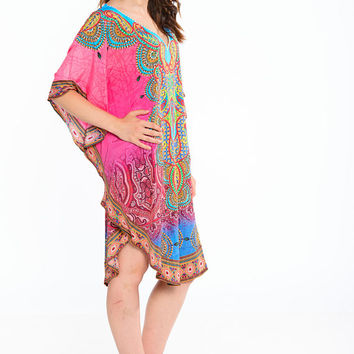 kaftan beach dresses short kaftan dress in floral paisley print SILK kaftan round neck poncho tunic boho gypsy caftan dress in Pink
