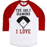 The Only Diamond I Love (Baseball)-Unisex White/Red T-Shirt