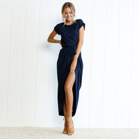 Royal Blue Short Sleeve Slit Casual Dress with Belt