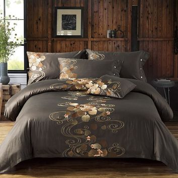 Tribute Silk Cotton Embroidery Luxury Bedding set Noble Palace Royal Bed set King Queen Size Duvet cover Bedsheet set Pillowcase
