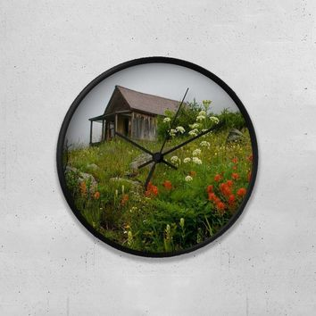 "Rustic Cabin and Wildflowers 10"" Wall Clock"