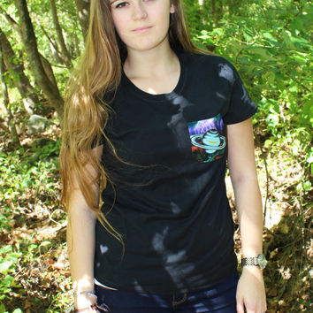 Planet Space Galaxy Multi Colored Patterned Pocket Tee