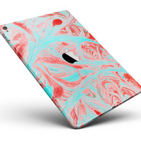 """Swirling Pink and Mint Acrylic Marble Full Body Skin for the iPad Pro (12.9"""" or 9.7"""" available)"""