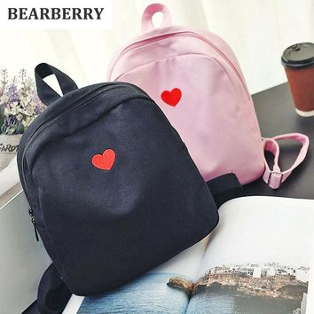 BEARBERRY  2017 fashion women canvas backpacks lovely embroidery travel backpacks for girls school bags for teenagers MN553