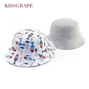 AB Side New 2018 Spring Baby Boys Sun Hats Summer Sunscreen with Cartoon Fish Kids 100% Cotton Bucket Hat Baby Girls Beach Hat