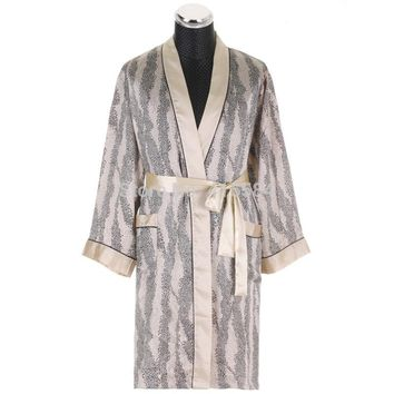 Luxury Silk Robes for Men Leopard Satin Dressing Gown for Men Long Sleeved Satin Silk Kimono Robe for Men