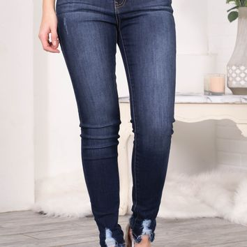 Lennon Dark Cropped Frayed Skinny Denim