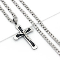 "Mens 24"" Stainless Steel Black Silver Cuban Chain Necklace Crucifix Cross Pendant"