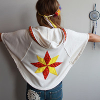 Mexican Embroidered Patchwork Star Yellow Red Oatmeal Hippie Bohemian Dolman Sleeve Poncho Zip Up Hoodie Hooded Sweatshirt Size Small