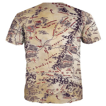 Hot Sell Men/Women 3d T-shirt Retro Print The Middle Earth World Map Brand Tshirts Summer Tops Tees