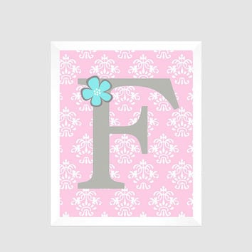 Gray First Initial on Pink Damask with Flower Baby Nursery Art CUSTOMIZE YOUR COLORS 8x10 Prints Nursery Decor Print Art Baby Room Decor